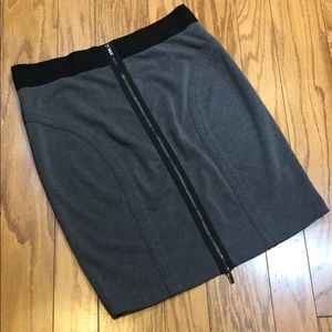 BCBGMAXAZRIA Zip Up Charcoal Gray Skirt